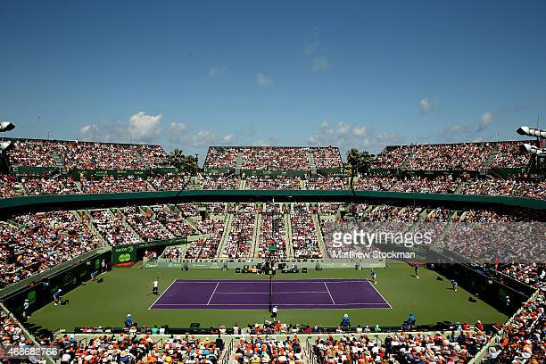 Andy Murray of Great Britain plays Novak Djokovic of Serbia during the final on day 14 of the Miami Open Presented by Itau at Crandon Park Tennis...