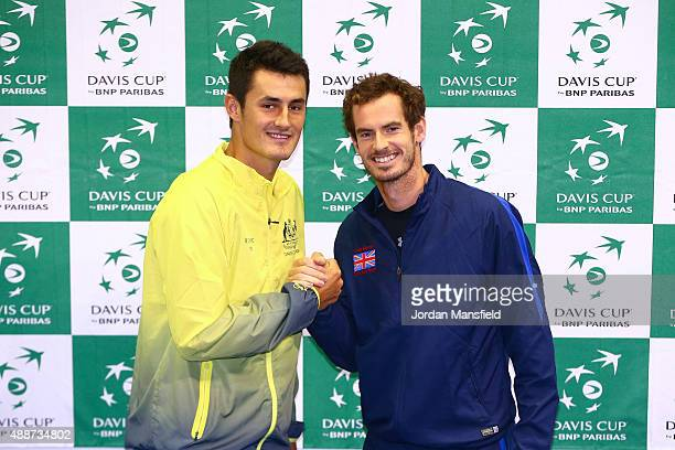 Andy Murray of Great Britain poses for a photo with Bernard Tomic of Australia at Emirates Arena on September 17 2015 in Glasgow Scotland