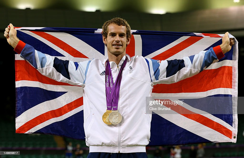 <a gi-track='captionPersonalityLinkClicked' href=/galleries/search?phrase=Andy+Murray+-+Tennis+Player&family=editorial&specificpeople=200668 ng-click='$event.stopPropagation()'>Andy Murray</a> of Great Britain poses with his gold and silver medals holding a union jack after the medal ceremony for the Mixed Doubles Tennis on Day 9 of the London 2012 Olympic Games at the All England Lawn Tennis and Croquet Club on August 5, 2012 in London, England.