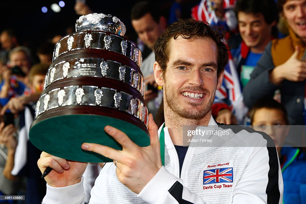 Andy Murray of Great Britain poses with his trophy following victory on day three of the Davis Cup Final 2015 at Flanders Expo on November 29, 2015 in Ghent, Belgium.