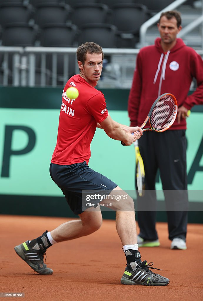 Andy Murray of Great Britain practices before his first round match against the United States prior to the Davis Cup World Group first round between the U.S. and Great Britain at PETCO Park on January 30, 2014 in San Diego, California.