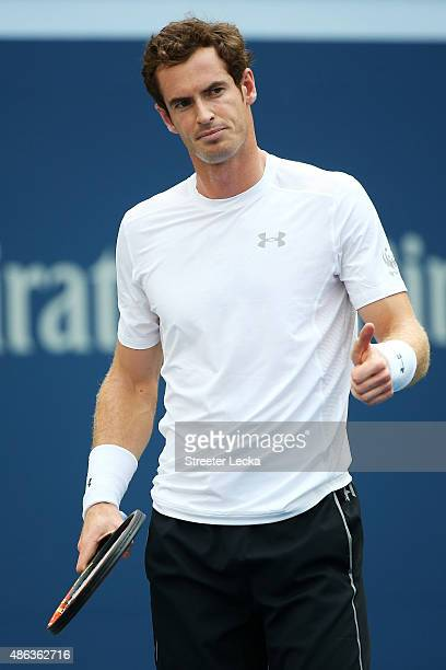 Andy Murray of Great Britain reacts after a shot against Adrian Mannarino of France during their Men's Singles Second Round match on Day Four of the...