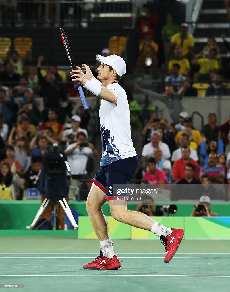 Andy Murray of Great Britain reacts after he wins the Men's singles Gold medal match against Juan Martin del Potro of Argentina at Olympic Tennis Centre on August 14, 2016 in Rio de Janeiro, Brazil.
