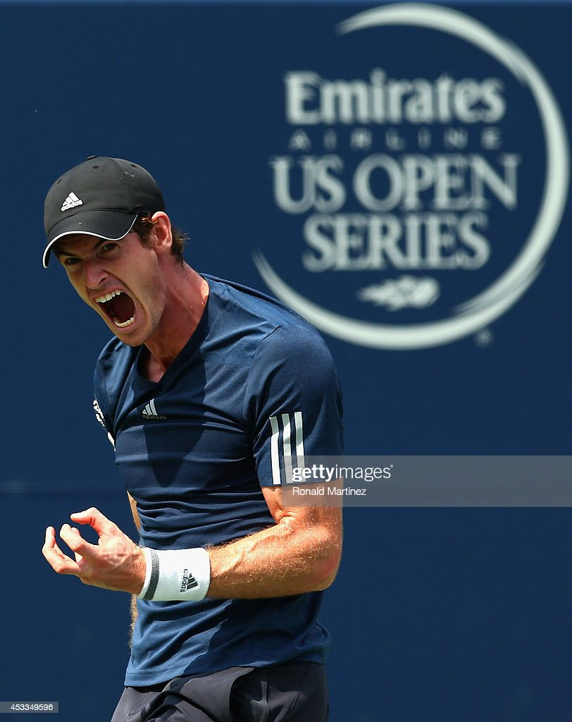 Andy Murray of Great Britain reacts after losing a point against Jo-Wilfried Tsonga of France in the quarterfinals during Rogers Cup at Rexall Centre at York University on August 8, 2014 in Toronto, Canada.