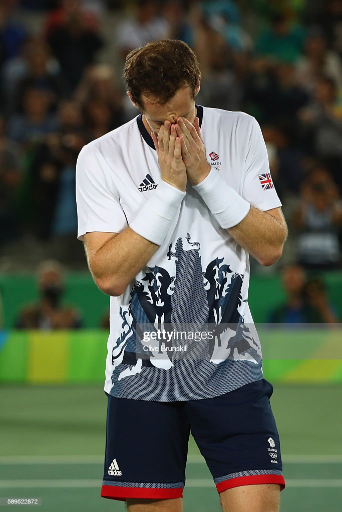 Andy Murray of Great Britain reacts after victory in the men's singles gold medal match against Juan Martin Del Potro of Argentina on Day 9 of the...