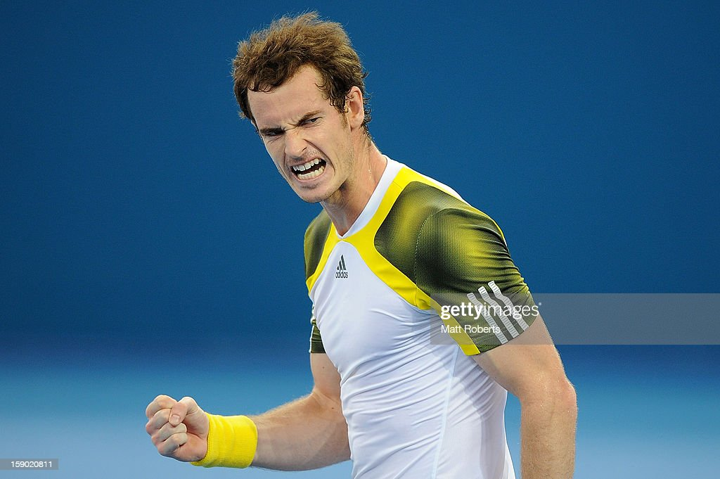 Andy Murray of Great Britain reacts after winning his final match against Grigor Dimitrov of Bulgaria on day eight of the Brisbane International at Pat Rafter Arena on January 6, 2013 in Brisbane, Australia.