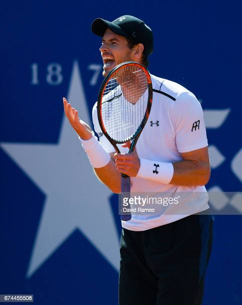 Andy Murray of Great Britain reacts against Albert RamosVinolas of Spain in the quarterfinal on day five of the Barcelona Open Banc Sabadells in the...