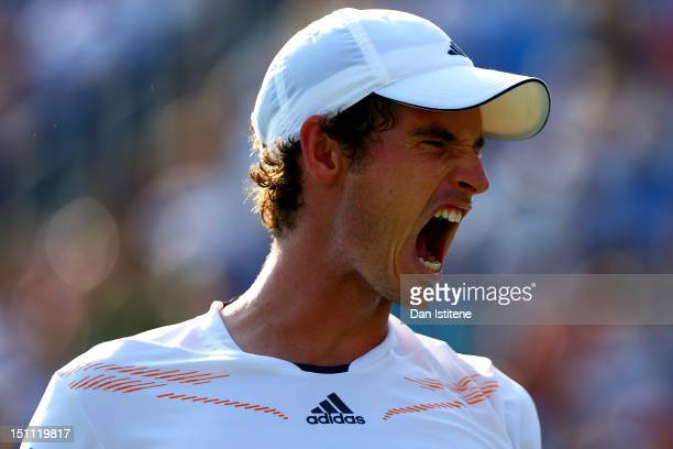 Andy Murray of Great Britain reacts against Feliciano Lopez of Spain during their men's singles third round match on Day Six of the 2012 US Open at...