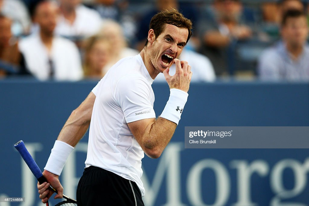 <a gi-track='captionPersonalityLinkClicked' href=/galleries/search?phrase=Andy+Murray+-+Tennis+Player&family=editorial&specificpeople=200668 ng-click='$event.stopPropagation()'>Andy Murray</a> of Great Britain reacts against Kevin Anderson of South Africa during their Men's Singles Fourth Round match on Day Eight of the 2015 US Open at the USTA Billie Jean King National Tennis Center on September 7, 2015 in the Flushing neighborhood of the Queens borough of New York City.