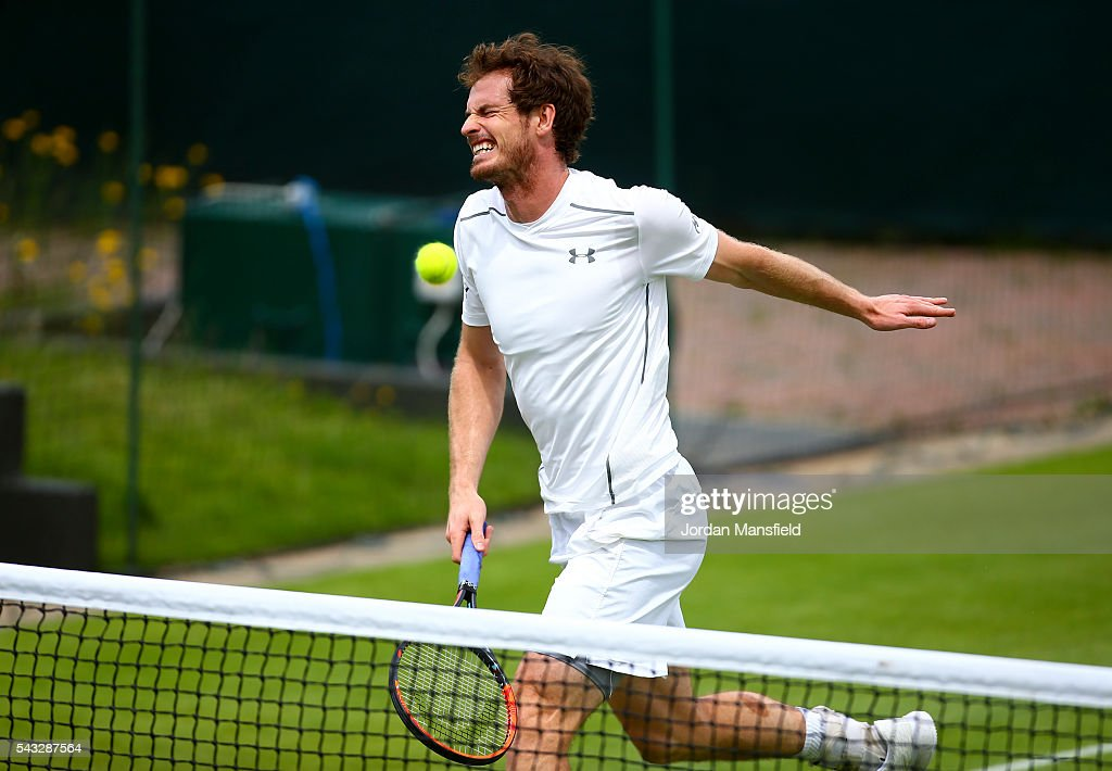 <a gi-track='captionPersonalityLinkClicked' href=/galleries/search?phrase=Andy+Murray+-+Tennis+Player&family=editorial&specificpeople=200668 ng-click='$event.stopPropagation()'>Andy Murray</a> of Great Britain reacts during a practice session on day one of the Wimbledon Lawn Tennis Championships at the All England Lawn Tennis and Croquet Club on June 26, 2016 in London, England.