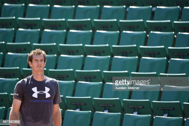 Andy Murray of Great Britain reacts during a training session at the 2017 French Open at Roland Garros on May 23 2017 in Paris France