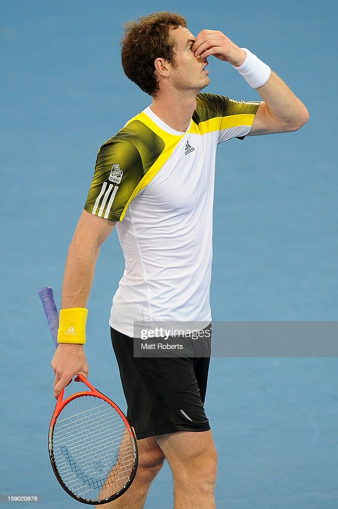 Andy Murray of Great Britain reacts during his final match against Grigor Dimitrov of Bulgaria on day eight of the Brisbane International at Pat Rafter Arena on January 6, 2013 in Brisbane, Australia.