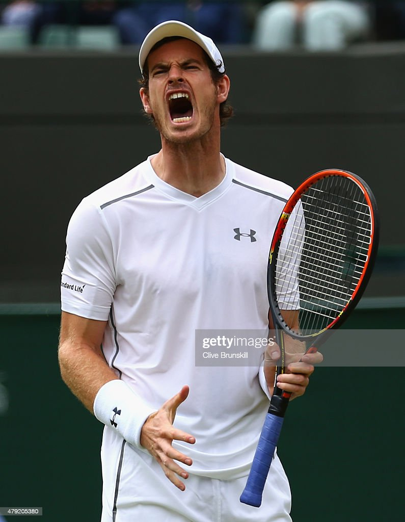 <a gi-track='captionPersonalityLinkClicked' href=/galleries/search?phrase=Andy+Murray+-+Jogador+de+t%C3%A9nis&family=editorial&specificpeople=200668 ng-click='$event.stopPropagation()'>Andy Murray</a> of Great Britain reacts during his Gentlemen's Singles second round match against Robin Haase of Netherlands during day four of the Wimbledon Lawn Tennis Championships at the All England Lawn Tennis and Croquet Club on July 2, 2015 in London, England.