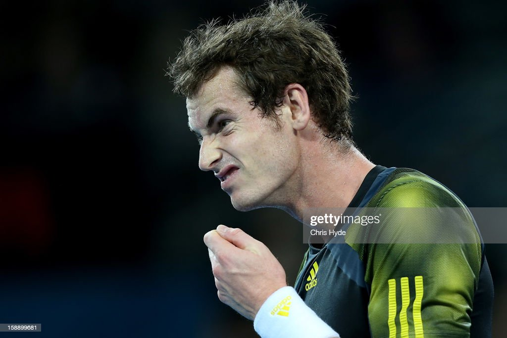 <a gi-track='captionPersonalityLinkClicked' href=/galleries/search?phrase=Andy+Murray+-+Jogador+de+t%C3%A9nis&family=editorial&specificpeople=200668 ng-click='$event.stopPropagation()'>Andy Murray</a> of Great Britain reacts during his match against John Millman of Australia on during day five of the Brisbane International at Pat Rafter Arena on January 3, 2013 in Brisbane, Australia.
