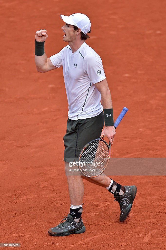 <a gi-track='captionPersonalityLinkClicked' href=/galleries/search?phrase=Andy+Murray+-+Tennisspelare&family=editorial&specificpeople=200668 ng-click='$event.stopPropagation()'>Andy Murray</a> of Great Britain reacts during his men's single second round match against Mathias Bourgue of France on day four of the 2016 French Open at Roland Garros on May 25, 2016 in Paris, France.