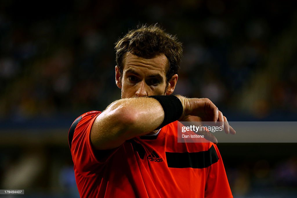 Andy Murray of Great Britain reacts during his men's singles fourth round match against Denis Istomin of Uzbekistan on Day Nine of the 2013 US Open at USTA Billie Jean King National Tennis Center on September 3, 2013 in the Flushing neighborhood of the Queens borough of New York City.