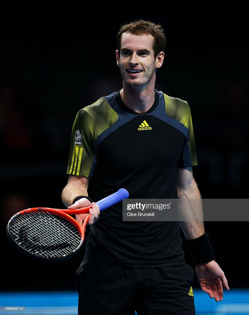 <a gi-track='captionPersonalityLinkClicked' href=/galleries/search?phrase=Andy+Murray+-+Tennis+Player&family=editorial&specificpeople=200668 ng-click='$event.stopPropagation()'>Andy Murray</a> of Great Britain reacts during his men's singles match against Jo-Wilfried Tsonga of France on day five of the ATP World Tour Finals at O2 Arena on November 9, 2012 in London, England.