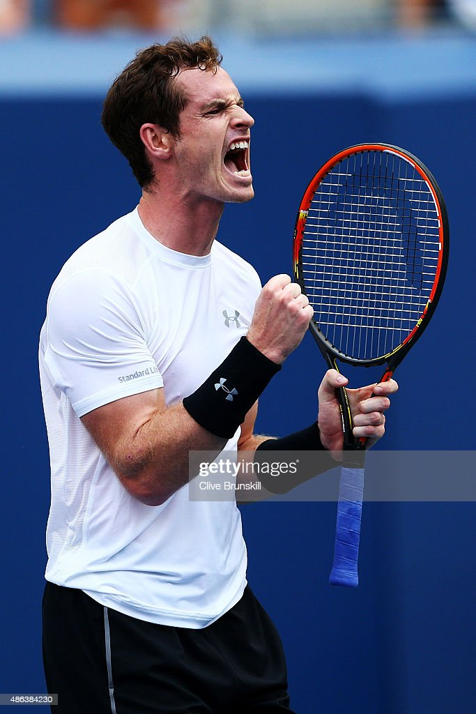 <a gi-track='captionPersonalityLinkClicked' href=/galleries/search?phrase=Andy+Murray+-+Tennis+Player&family=editorial&specificpeople=200668 ng-click='$event.stopPropagation()'>Andy Murray</a> of Great Britain reacts during his Men's Singles Second Round match against Adrian Mannarino of France on Day Four of the 2015 US Open at the USTA Billie Jean King National Tennis Center on September 3, 2015 in the Flushing neighborhood of the Queens borough of New York City.