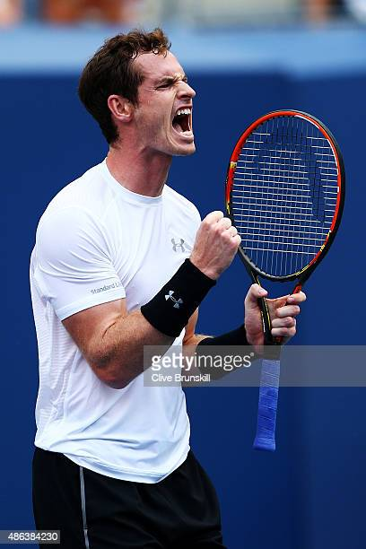 Andy Murray of Great Britain reacts during his Men's Singles Second Round match against Adrian Mannarino of France on Day Four of the 2015 US Open at...
