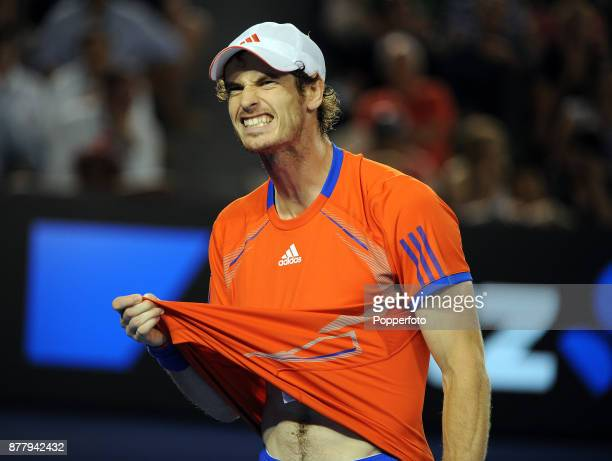 Andy Murray of Great Britain reacts during his men's singles semi final against Novak Djokovic of Serbia on day twelve of the 2012 Australian Open at...