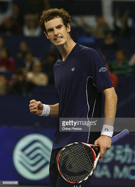 Andy Murray of Great Britain reacts during his round robin match against Roger Federer of Switzerland in the Tennis Masters Cup held at Qi Zhong...