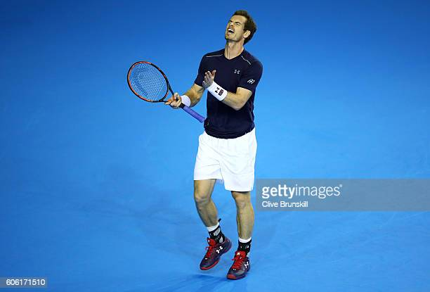 Andy Murray of Great Britain reacts during his singles match against Juan Martin del Potro of Argentina during day one of the Davis Cup Semi Final...