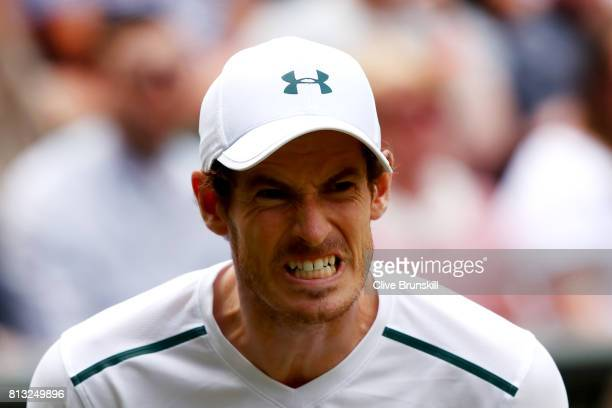 Andy Murray of Great Britain reacts during the Gentlemen's Singles quarter final match against Sam Querrey of The United States on day nine of the...