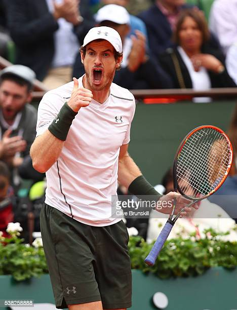 Andy Murray of Great Britain reacts during the Men's Singles final match against Novak Djokovic of Serbia on day fifteen of the 2016 French Open at...