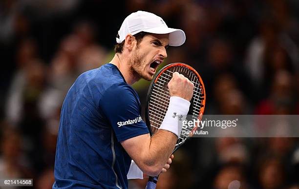 Andy Murray of Great Britain reacts during the Mens Singles Final against John Isner of the United States on day seven of the BNP Paribas Masters at...