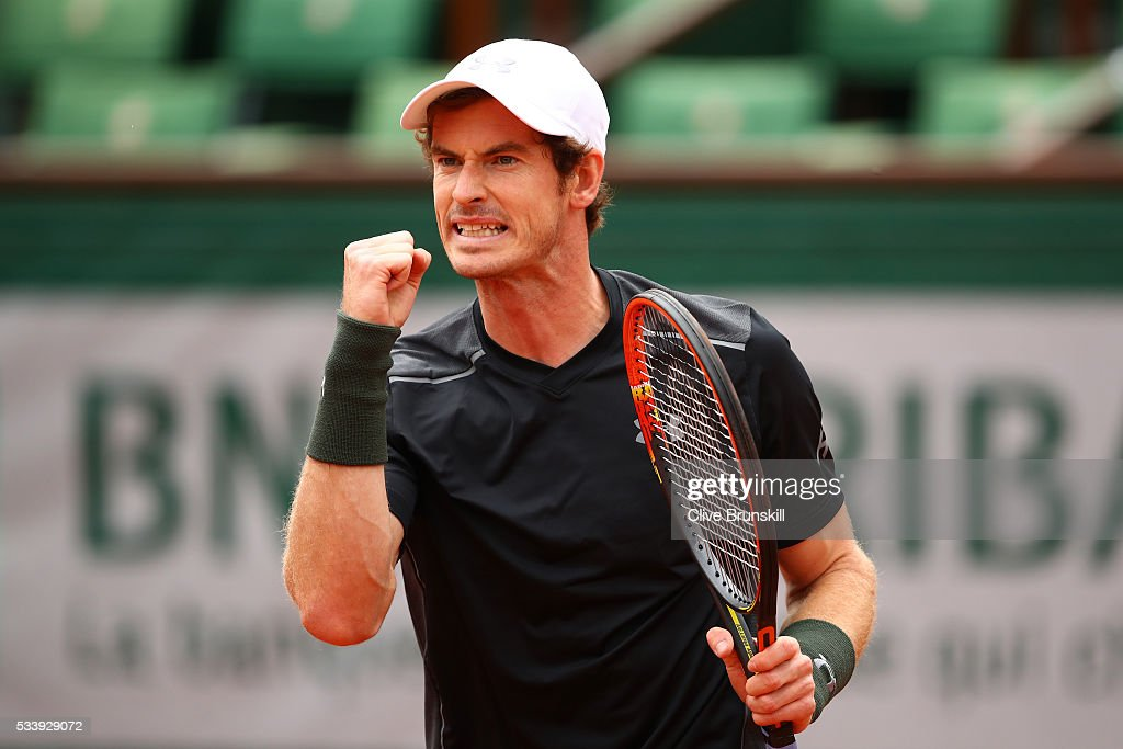 <a gi-track='captionPersonalityLinkClicked' href=/galleries/search?phrase=Andy+Murray+-+Tennis+Player&family=editorial&specificpeople=200668 ng-click='$event.stopPropagation()'>Andy Murray</a> of Great Britain reacts during the Men's Singles first round match against Radek Stepanek of the Czech Republic on day three of the 2016 French Open at Roland Garros on May 24, 2016 in Paris, France.