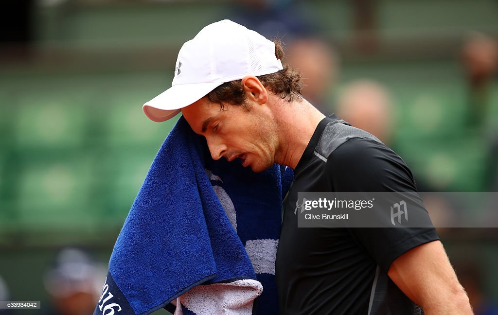 Andy Murray of Great Britain reacts during the Men's Singles first round match against Radek Stepanek of the Czech Republic on day three of the 2016 French Open at Roland Garros on May 24, 2016 in Paris, France.
