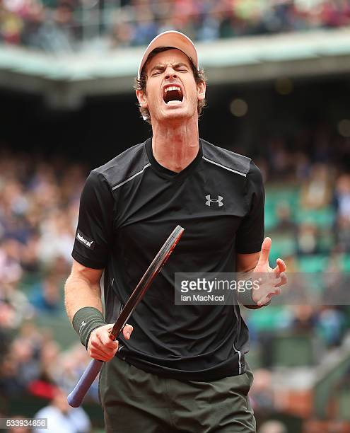Andy Murray of Great Britain reacts during the Men's Singles first round match against Radek Stepanek of the Czech Republic on day three of the 2016...