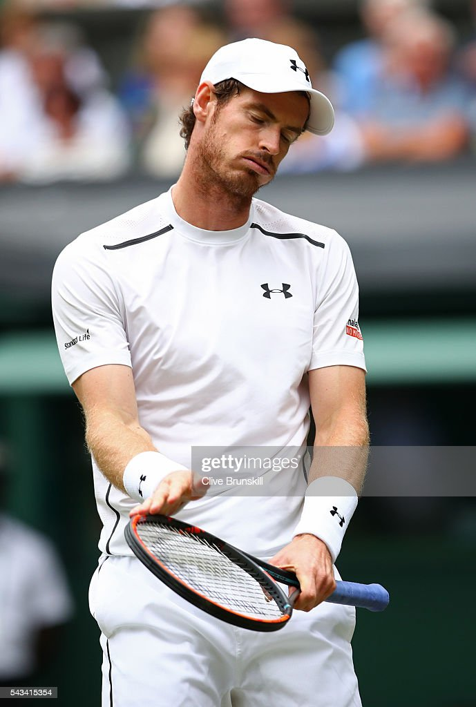 <a gi-track='captionPersonalityLinkClicked' href=/galleries/search?phrase=Andy+Murray+-+Tennis+Player&family=editorial&specificpeople=200668 ng-click='$event.stopPropagation()'>Andy Murray</a> of Great Britain reacts during the Men's Singles first round match against Liam Broady of Great Britain on day two of the Wimbledon Lawn Tennis Championships at the All England Lawn Tennis and Croquet Club on June 28, 2016 in London, England.
