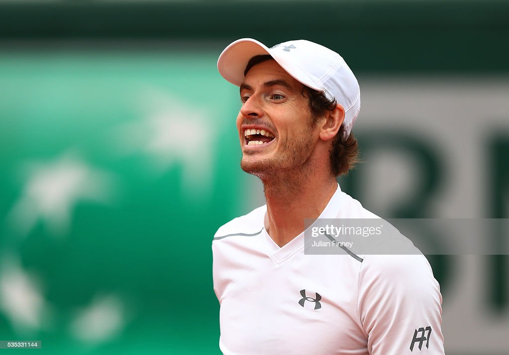 <a gi-track='captionPersonalityLinkClicked' href=/galleries/search?phrase=Andy+Murray+-+Tennis+Player&family=editorial&specificpeople=200668 ng-click='$event.stopPropagation()'>Andy Murray</a> of Great Britain reacts during the Men's Singles fourth round match against John Isner of the United States on day eight of the 2016 French Open at Roland Garros on May 29, 2016 in Paris, France.