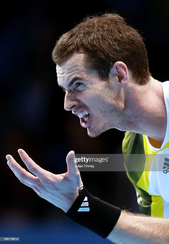 <a gi-track='captionPersonalityLinkClicked' href=/galleries/search?phrase=Andy+Murray+-+Tennis+Player&family=editorial&specificpeople=200668 ng-click='$event.stopPropagation()'>Andy Murray</a> of Great Britain reacts during the men's singles match against Novak Djokovic of Serbia on day three of the ATP World Tour Finals at the at O2 Arena on November 7, 2012 in London, England.