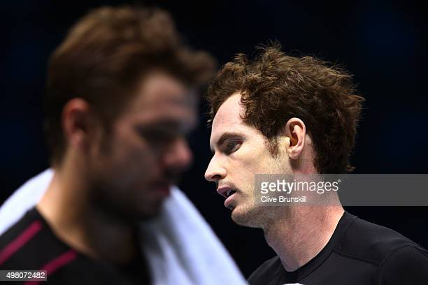Andy Murray of Great Britain reacts during the men's singles match against Stan Wawrinka of Switzerland on day six of the Barclays ATP World Tour...