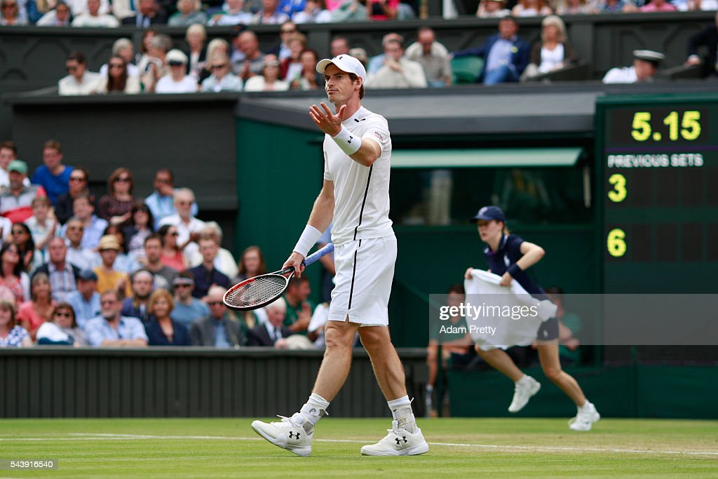 <a gi-track='captionPersonalityLinkClicked' href=/galleries/search?phrase=Andy+Murray+-+Tennis+Player&family=editorial&specificpeople=200668 ng-click='$event.stopPropagation()'>Andy Murray</a> of Great Britain reacts during the Men's Singles second round match against Yen-Hsun Lu of Taipei on day four of the Wimbledon Lawn Tennis Championships at the All England Lawn Tennis and Croquet Club on June 30, 2016 in London, England.