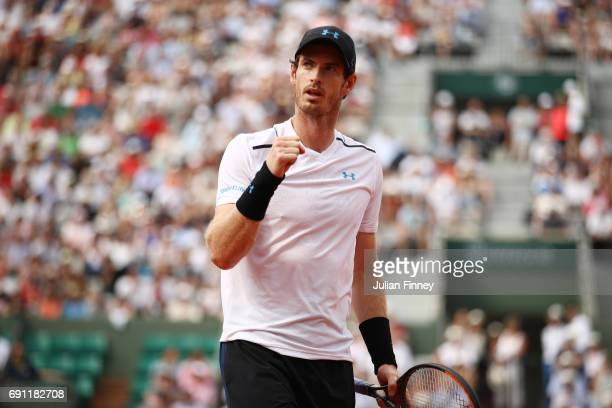 Andy Murray of Great Britain reacts during the men's singles second round match against Martin Klizan of Slovakia on day five of the 2017 French Open...