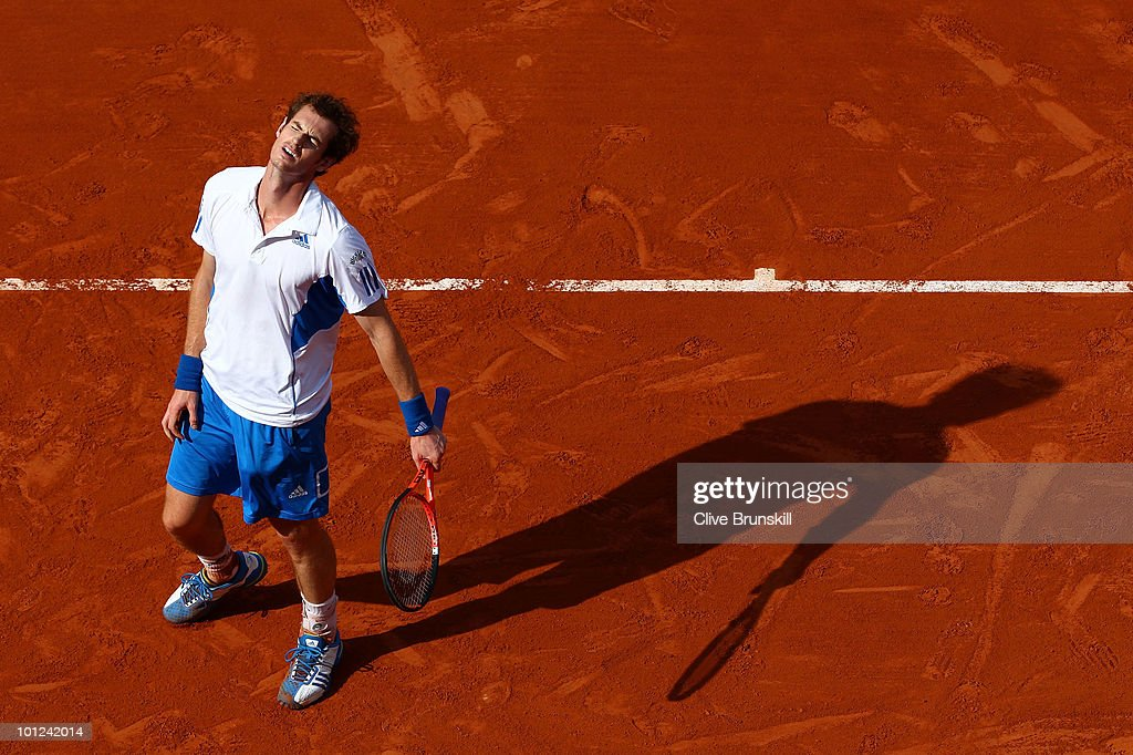 Andy Murray of Great Britain reacts during the men's singles third round match between Andy Murray of Great Britain and Marcos Baghdatis of Cyprus at the French Open on day six of the French Open at Roland Garros on May 28, 2010 in Paris, France.