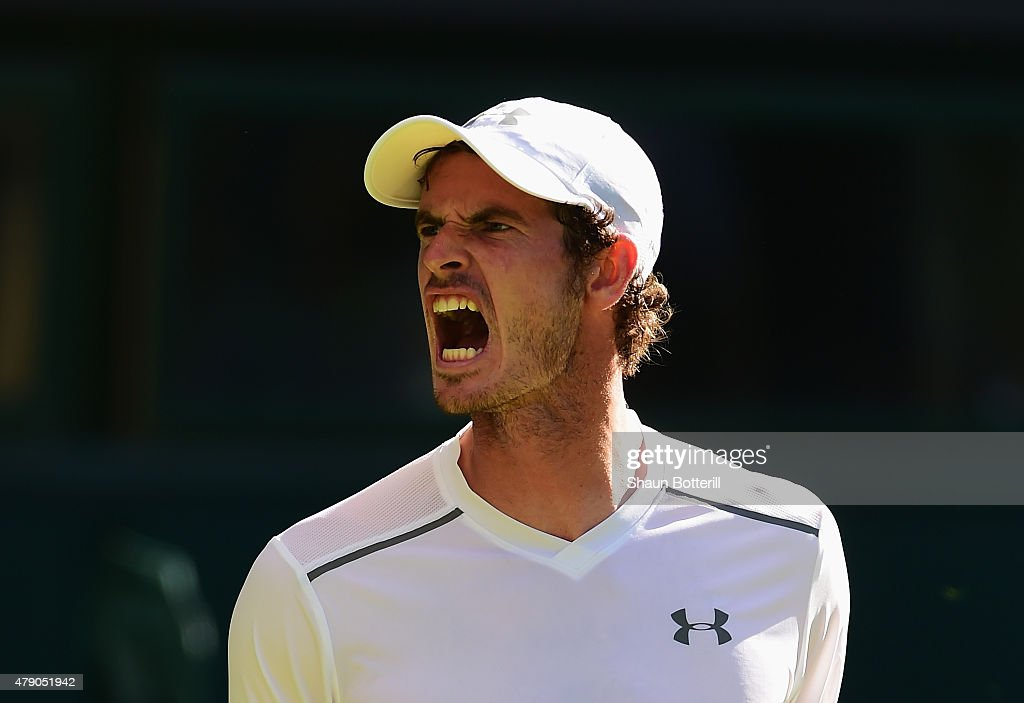 Andy Murray of Great Britain reacts in his Gentlemens Singles first round match against Mikhail Kukushkin of Kazakhstan during day two of the Wimbledon Lawn Tennis Championships at the All England Lawn Tennis and Croquet Club on June 30, 2015 in London, England.