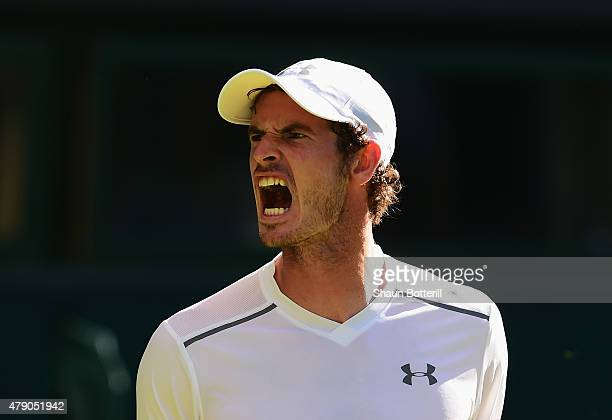 Andy Murray of Great Britain reacts in his Gentlemens Singles first round match against Mikhail Kukushkin of Kazakhstan during day two of the...