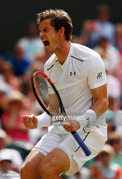 Andy Murray of Great Britain reacts in his Gentlemen's Singles Fourth Round match against Ivo Karlovic of Croatia during day seven of the Wimbledon...