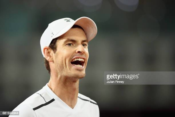Andy Murray of Great Britain reacts in his match against Borna Coric of Croatia during day six of the Mutua Madrid Open tennis at La Caja Magica on...