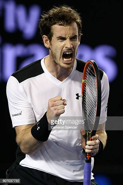 Andy Murray of Great Britain reacts in his quarter final match against David Ferrer of Spain during day 10 of the 2016 Australian Open at Melbourne...