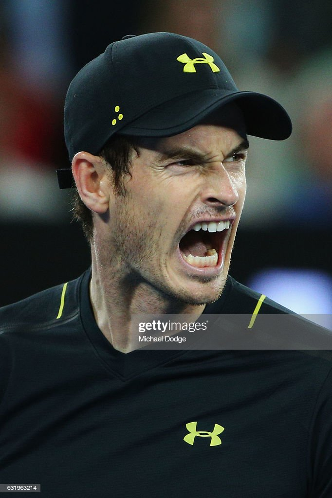 Andy Murray of Great Britain reacts in his second round match against Andrey Rublev of Russia on day three of the 2017 Australian Open at Melbourne Park on January 18, 2017 in Melbourne, Australia.