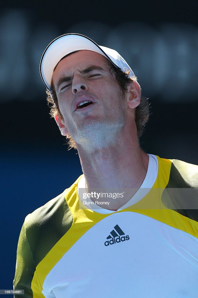 Andy Murray of Great Britain reacts in his third round match against Ricardas Berankis of Lithuania during day six of the 2013 Australian Open at Melbourne Park on January 19, 2013 in Melbourne, Australia.