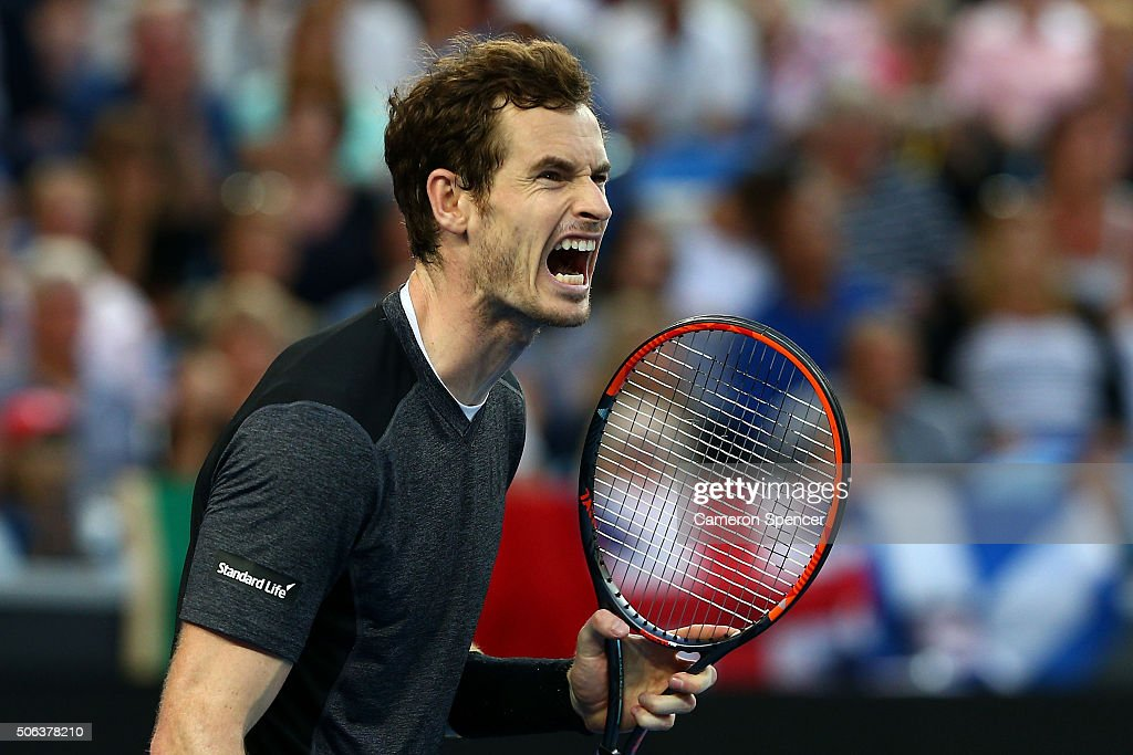Andy Murray of Great Britain reacts in his third round match against Joao Sousa of Portugal during day six of the 2016 Australian Open at Melbourne...