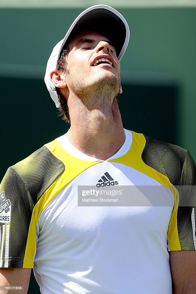 Andy Murray of Great Britain reacts to a lost point against David Ferrer of Spain during the final of the Sony Open at Crandon Park Tennis Center on March 31, 2013 in Key Biscayne, Florida.