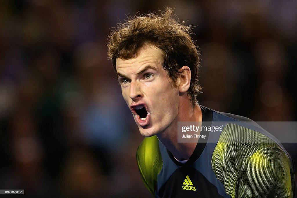 <a gi-track='captionPersonalityLinkClicked' href=/galleries/search?phrase=Andy+Murray+-+Jogador+de+t%C3%A9nis&family=editorial&specificpeople=200668 ng-click='$event.stopPropagation()'>Andy Murray</a> of Great Britain reacts to a point in his men's final match against Novak Djokovic of Serbia during day fourteen of the 2013 Australian Open at Melbourne Park on January 27, 2013 in Melbourne, Australia.