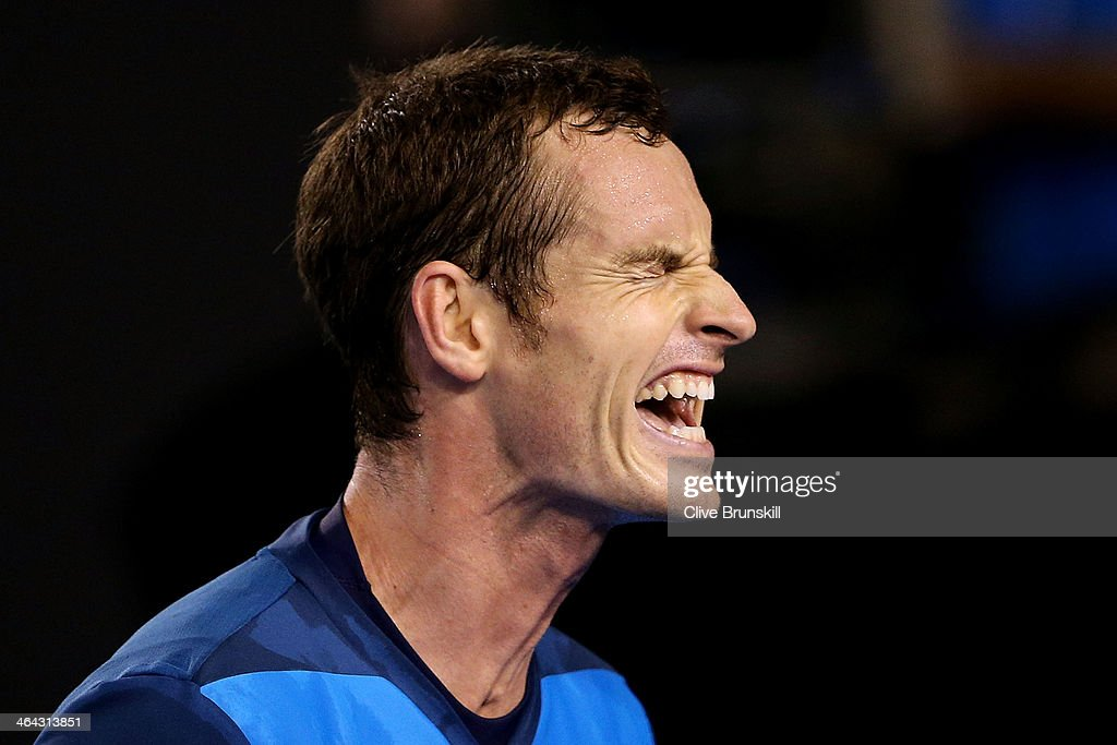 <a gi-track='captionPersonalityLinkClicked' href=/galleries/search?phrase=Andy+Murray+-+Tennis+Player&family=editorial&specificpeople=200668 ng-click='$event.stopPropagation()'>Andy Murray</a> of Great Britain reacts to a point in his quarterfinal match against Roger Federer of Switzerland during day 10 of the 2014 Australian Open at Melbourne Park on January 22, 2014 in Melbourne, Australia.